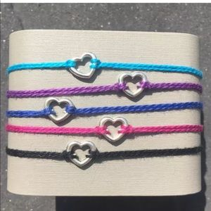Friendship String Heart Boho Bracelets x2